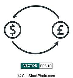 Money exchange. Line style. Isolated on white. Vector Illustration EPS 10