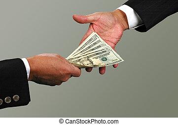 Money Exchange - Money exchange between two businessmen...