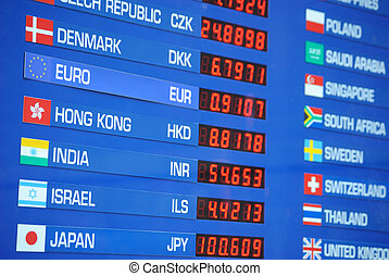 Money Exchange Rate - Sign depicting exchange rates for...