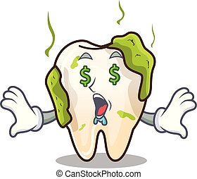 Money eye cartoon decayed tooth with dental caries
