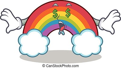 Money eye colorful rainbow character cartoon