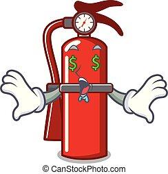 Money eye fire extinguisher mascot cartoon