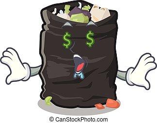 Money eye garbage bag behind the character door vector illustration