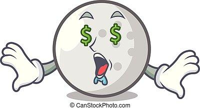 Money eye golf ball mascot cartoon