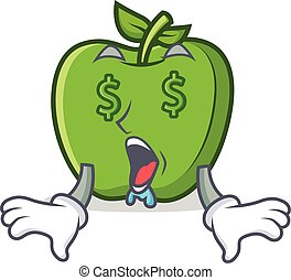 Money eye green apple character cartoon