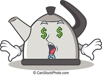 Money eye kettle character cartoon style vector illustration