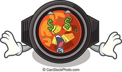 Money eye kimchi tighe above the cartoon table vector...