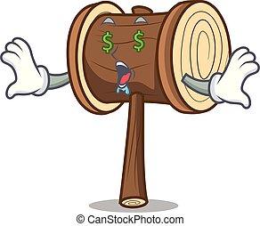 Money eye mallet mascot cartoon style