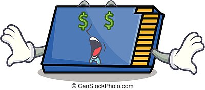 Money eye memory card mascot cartoon