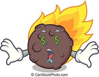 Money eye meteorite mascot cartoon style