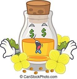 Money eye mustard oil in the cartoon shape