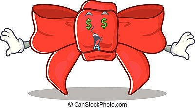 Money eye red ribbon bow with the cartoon