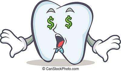 Money eye tooth character cartoon style