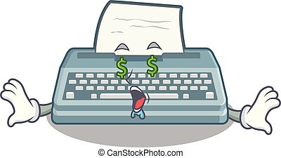 Money eye typewriter in the a mascot closet