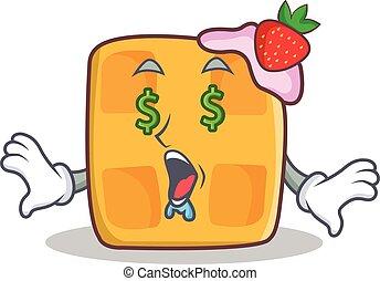 Money eye waffle character cartoon design