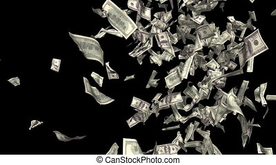 Money fall. Business 3d animation.