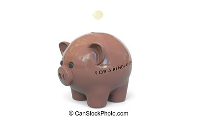 Money fall into piggy bank painted with flag. Conceptual 3D