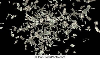 Money Falling Dollars Financial Win US USA American Currency Tax Make It Rain 4k