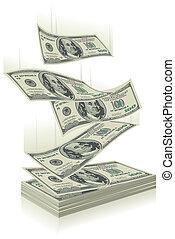 money falling - flying dollar bills, the concept of success