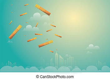 Money falling from above sky to city. Vector Illustration. rain from the golden coins