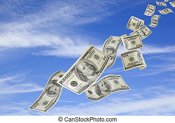 Money Falling from Sky - US one hundred dollar bills falling...
