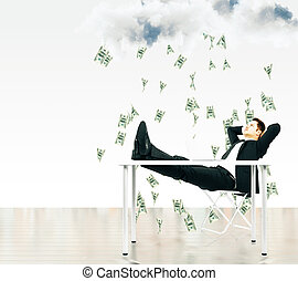 Money falling from the sky concept with businessman sitting on a chair under the cloud with money