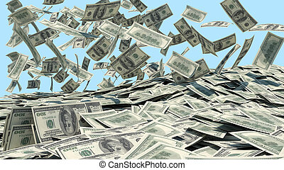 Money falling from the sky in a heap. blue background