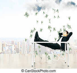 Money falling from the sky on businessman resting on a chair at city background concept