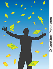 Money Falling From the Sky Vector Illustration - Vector...