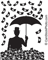 money falling - The man with umbrella and money falling into...