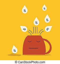 Money falling on inverted coffee cup and not pick money up. Lost opportunity concept.