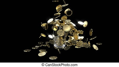 Money falls from the bokeh. Bitcoin gold coins fall on the glass, the rain of digital money.