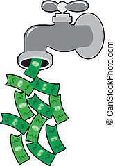 A faucet is dripping dollar bills instead of water