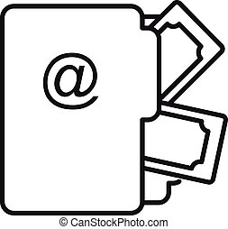 Money file folder icon, outline style