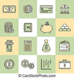 Money finance icons flat line