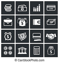 Money finance icons set - Money icon collection on a black...