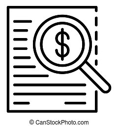 Money finance search icon, outline style