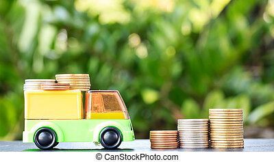 Money, Financial, Business Growth concept, Truck deliver / sending stack of coins on white background, Business banking account and Transportation money currency concept