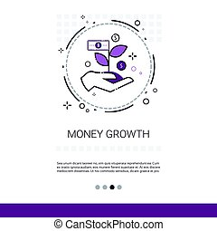 Money Financial Growth Success Business Web Banner With Copy Space