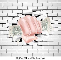 Money Fist Punching Through White Brick Wall