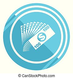 Money flat design blue web icon, easy to edit vector illustration for webdesign and mobile applications