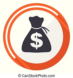 Money flat design vector web icon. Round orange internet button isolated on white background.