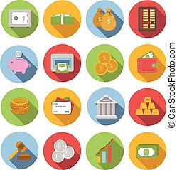 Money Flat icon set