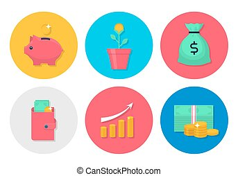 Money flat icons set