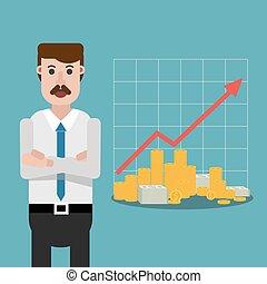 Money flat man and money graphic vector eps 10 design