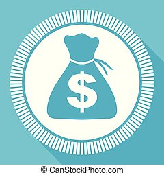 Money flat vector icon, cash business square blue web button