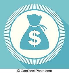 Money flat vector icon, cash business square blue web button