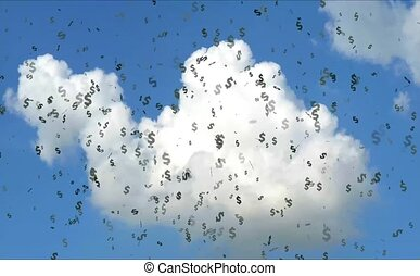 Money floating in the air and blue sky white cloud background