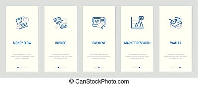 Money flow, Invoice, Payment, Market research, Wallet Vertical Cards with strong metaphors.
