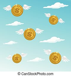 Money fly away. Vector flat cartoon illustration